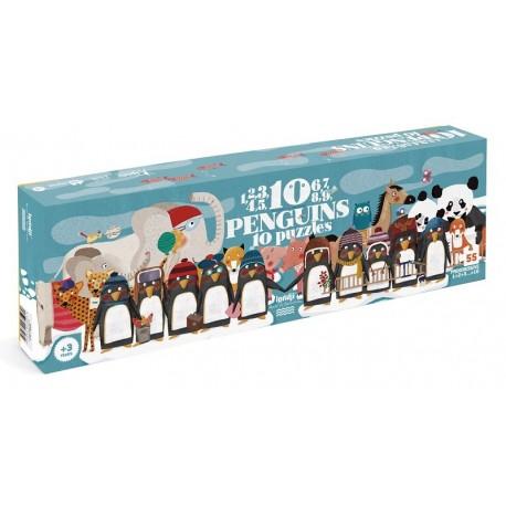1, 2, 3, 4, 5, 6, 7, 8, 9, 10 Penguins - Puzzle Pingouins