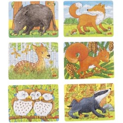 Lot de 6 mini puzzles de la forêt