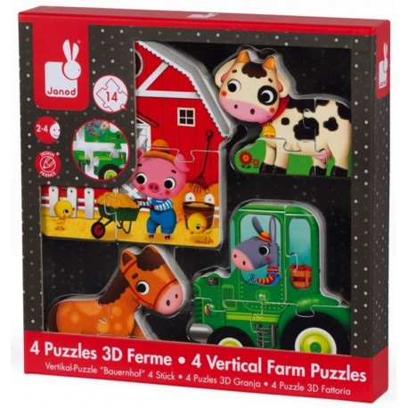 4 puzzles 3D ferme