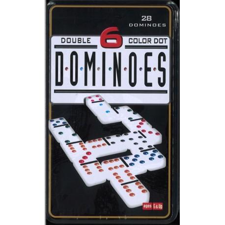 Dominos 1 à 6 dans une boîte en fer