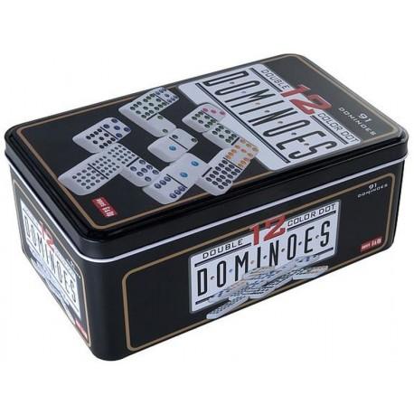 Dominos 1 à 12 dans une boîte en fer