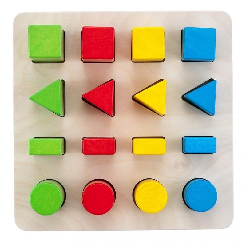 Activité Montessori 10 pièces Puzzle Formes géométriques en bois à encastrer
