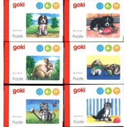 Lot de 6 mini puzzles des animaux familiers