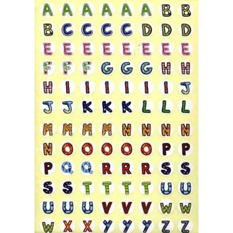 Gommettes lettres couleur