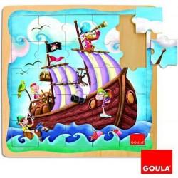 Puzzle bois bateau pirate