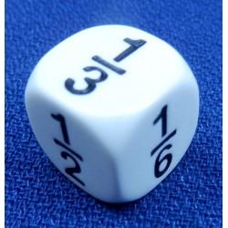 Dé fractions 1/1, 1/2, 1/3, 1/4, 1/5, 1/6