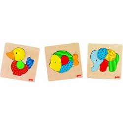 Lot de 3 puzzles en bois