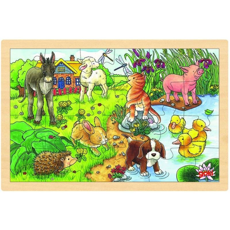 puzzle bois b b s animaux dans un cadre en bois. Black Bedroom Furniture Sets. Home Design Ideas