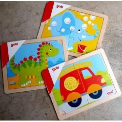 3 puzzles en bois de 4 pièces