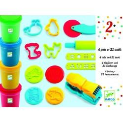 Pâte à modeler 4 pots & 21 outils