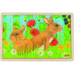 Puzzle bois Lapins dans le jardin