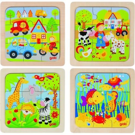 4 puzzles de 9 pièces
